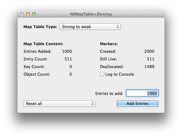 Adding 1000 entries to a strong-to-weak NSMapTable