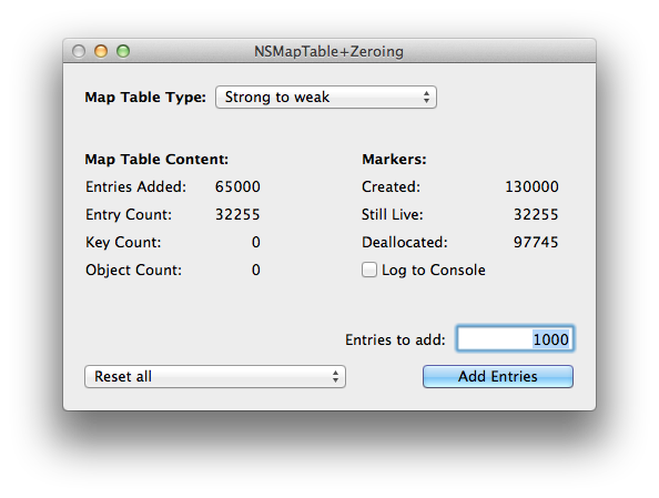 Adding 65000 entries to a strong-to-weak NSMapTable