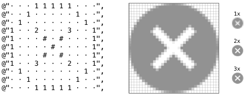ASCIImage drawing a white cross in a gray circle, using layered shapes of different colors